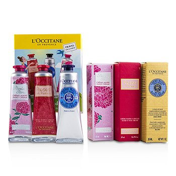 LOccitane Lovelier Hands Kit: 2x Rose Velvet 30ml + 2x Pivoine Flora 30ml + 2x Shea Butter 30ml