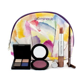 GloMinerals Kit Floral Fantasy Collection: 1x Perfect Lip Duo, 1x Precise Micro Eyeliner, 1x Powder Cheek Stain, 1x Cleo Eye Shadow...