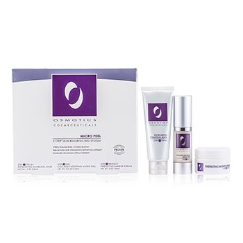 Osmotics Kit Micro Peel Skin Resurfacing System: Mascara exfoliante Charcoal 50ml + Creme Collagen Boosting Micro Peel 15ml + Creme  Protective Barrier 15ml