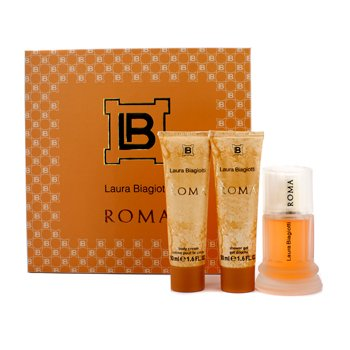 Laura Biagiotti Caixa Roma: Eau De Toilette Spray 50ml + Body Cream 50ml + Gel de banho 50ml