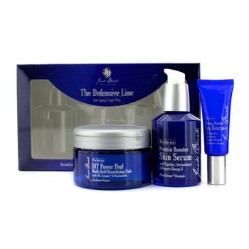 Jack Black Kit Anti-Idade The Defensive Line Anti-Aging Triple Play: Protein Booster Eye Resuce + DIY Power Peel Multi-Acid Resurfacing Pads + Protein Booster Skin Serum