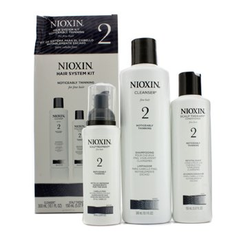 Nioxin System 2 System Kit For Fine & Noticeably Thinning Hair : Cleanser 300ml+Therapy 150ml+Treatment 100ml (Box Slightly Damaged)