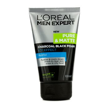 LOreal Mousse de Limpeza Men Expert Pure & Matte Icy Effect Charcoal Black