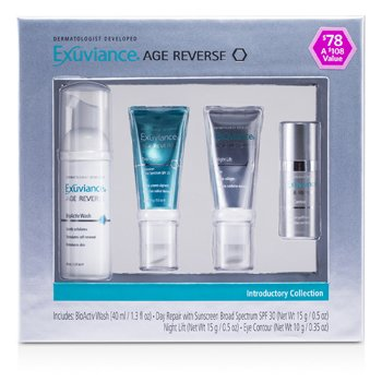 Exuviance Coleção Age Reverse Introductory: BioActiv Wash + Day Repair + Night Lift + Eye Contour