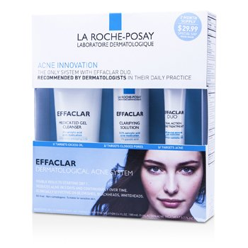 La Roche Posay Effaclar 3 Step System: Gel Cleanser 100ml + Clarifying Solution 100ml + Acne Treament 20ml 02773