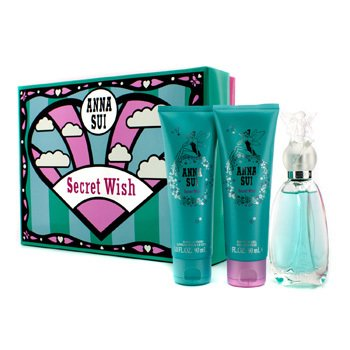 Anna Sui Kit Secret Wish: Eau De Toilette Spray 50ml + Loção Corporal 90ml + Gel Para Banho 90ml