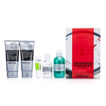 Anthony Kit de Viagem Essencial Logistics For Men:  Limpeza de Pele + Hidratante + Protetor Labial + Creme Para Barbear + Sabonete Liquido