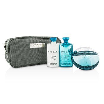 Bvlgari Aqva Pour Homme Marine Coffret: Eau De Toilette Spray 100ml + Shower Gel 75ml + After Shave Balm 75ml + Pouch
