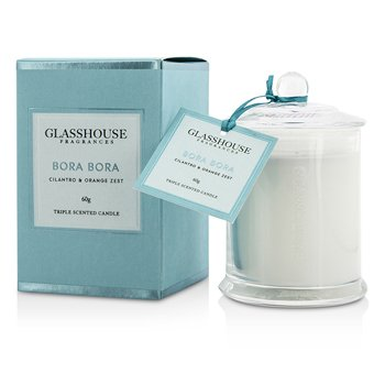 Glasshouse Triple Scented Candle - Bora Bora (Cilantro & Orange Zest)