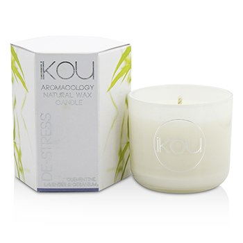 iKOU Eco-Luxury Aromacology Natural Wax Candle Glass - De-Stress (Lavender & Geranium)
