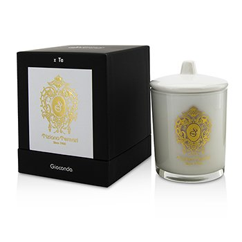 Tiziana Terenzi Glass Candle with Gold Decoration & Wooden Wick - Spicy Snow (White Glass)