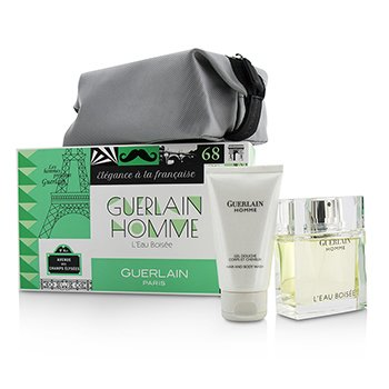 Guerlain Homme LEau Boisee Coffert: Eau De Toilette Spray 80ml + Hair and Body Wash 75ml + pouch