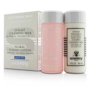 Sisley Cleansing Duo Travel Selection Set: Cleansing Milk w/ White Lily 100ml + Floral Toning Lotion 100ml