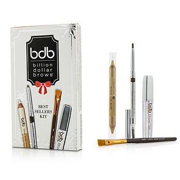 Billion Dollar Brows Best Sellers Kit: 1x Universal Brow Pencil 0.27g, 1x Brow Duo Pencil 2.98g, 1x Smudge Brush, 1x Brow Gel 3ml