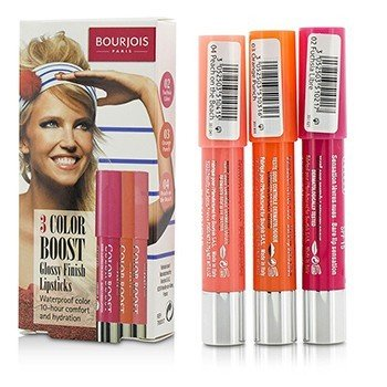 Bourjois 3 Color Boost Glossy Finish Lipsticks SPF 15 Set: 3x Lipstick - #02 Fuchsia Libre, #03 Orange Punch, #04 Peach on the Beach