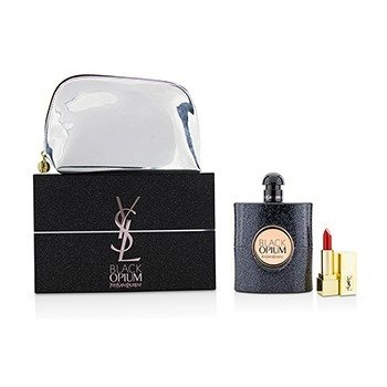 Yves Saint Laurent Black Opium Coffret: Eau De Parfum Spray 90ml + Mini Lipstick + Pouch