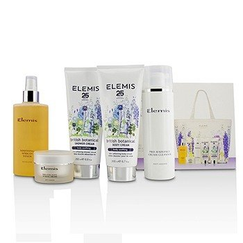 Elemis British Botanical Face & Body Experience Set: Cleanser + Apricot Toner + Collagen Marine Cream + Shower Cream + Body Cream + Bag