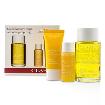 Clarins At-Home Pampering Body Kit: 1x Tonic Body Treatment Oil, 1x Bath & Shower Concentrate, 1x Tonic Body Balm
