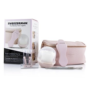 Tweezerman Bright Complexion Prep Set: Complexion Cleansing Brush + Bright Complexion Facial Dermaplaner + No Slip Skincare Tool + Bag