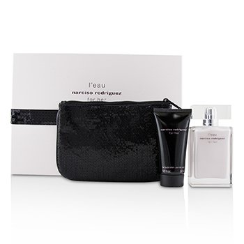 Narciso Rodriguez LEau For Her Coffret: Eau De Toilette Spray 50ml + Her Body Lotion 50ml + Pouch
