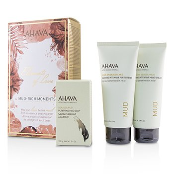 Ahava Elements Of Love Mud-Rich Moments Gift Set: Hand Cream 100ml + Foot Cream 100ml + Purifying Mud Soap 100g