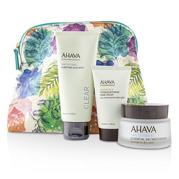 Ahava Essential Face Set: Essential Day Moisturizer N-D + Purifying Mud Mask 100ml + Dermud Nourishing Han