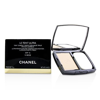 Chanel Le Teint Ultra Ultrawear Flawless Compact Foundation Luminous Matte Finish SPF15 - # 10 Beige