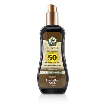 Australian Gold Spray Gel Sunscreen Broad Spectrum SPF 50 with Instant Bronzer - #1 Fragrance