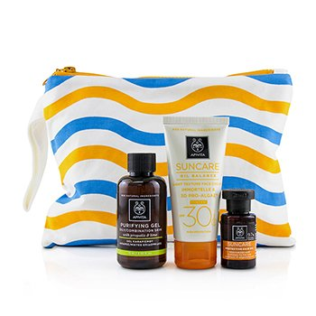 Apivita Suncare Set: Suncare Oil Balance Face Cream SPF30 - Tint 50ml + Purifying Gel 75ml + Protective Hair Oil