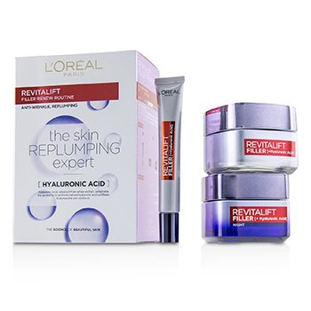 LOreal Revitalift Filler Renew Routine Set: Day Cream 50ml + Night Cream 50ml + Eye Cream 15 ml