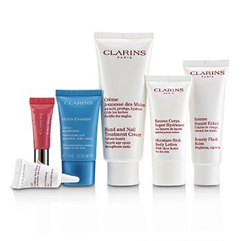 Clarins Week-End Essentials: Hand & Nail Cream+Beauty Flash Balm+Moisture-Rich Body+Eye Contour Gel+Hydra-Essentiel Cream+Lip