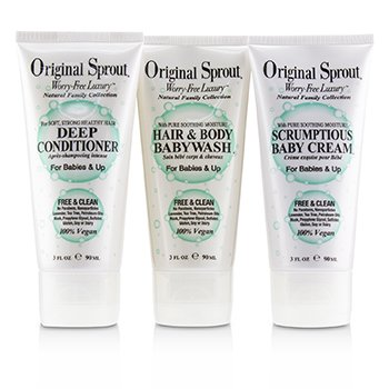 Original Sprout Travel Trio Set: 1x Deep Conditioner 90ml+1x Hair and Body Babywash 90ml +1x Scrumptious Baby Cream 90ml (For Babies & Up)