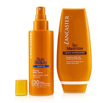 Lancaster Your Suncare Routine For A Legendary Goldan Tan Set: Oil-Free Milky Spray SPF 30 150ml + Tan Maximizer After Sun 125ml