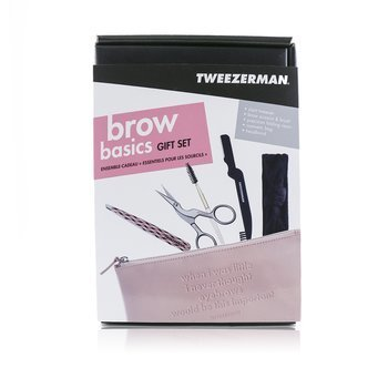 Tweezerman Brow Basics Gift Set (Slant Tweezer, Brow Scissors & Brush, Precision Folding Razor, Headband)