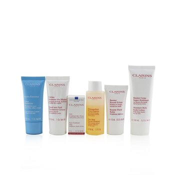 Clarins Head-to-Toe Moisturizing Essentials Set: Facial Cleanser+Eye Gel+Beauty Flash Balm+Hydra-Essentiel Cream+Body Lotion+Hand