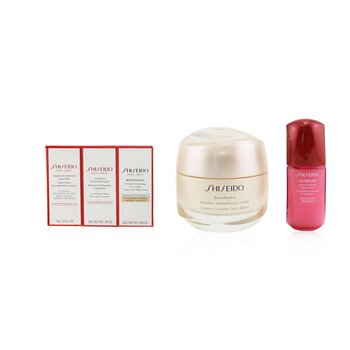 Shiseido Anti-Wrinkle Ritual Benefiance Wrinkle Smoothing Cream Set (For All Skin Types): Wrinkle Smoothing Cream 50ml + Cleansing Foam 5ml + Softener Enriched 7ml + Ultimune Concentrate 10ml + Wrinkle Smoothing Eye Cream 2ml