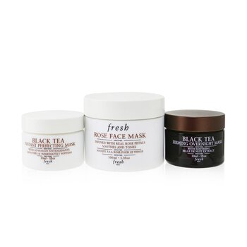 Fresh Face Mask Set: 1x Rose Face Mask - 100ml + 1x Black Tea Firming Overnight Mask - 30ml + 1x Black Tea Instant Perfecting Mask - 30ml