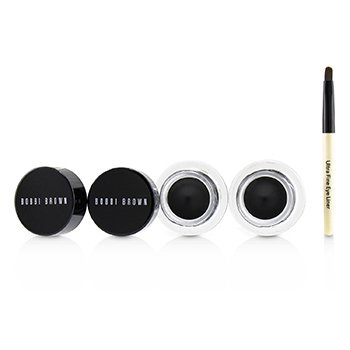 Bobbi Brown Long Wear Gel Eyeliner Duo: 2x Gel Eyeliner 3g (Black Ink) + Mini Ultra Fine Eye Liner Brush